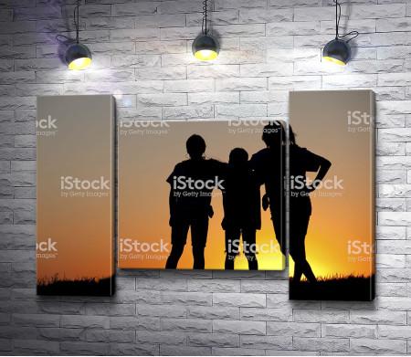 Три друга смотрят на закат