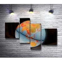 Современная карта мира на глобусе