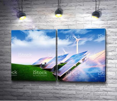 Отражение неба в солнечных батареях