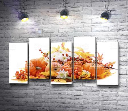 Натюрморт с тыквами и осенними листьями