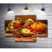 Оранжевый натюрморт с тыквами и яблоками