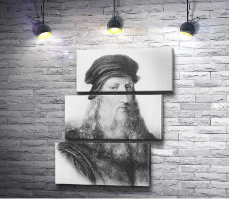 Черно-белый портрет Леонардо да Винчи