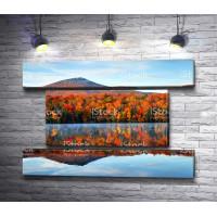 Отражение осеннего леса на фоне горы