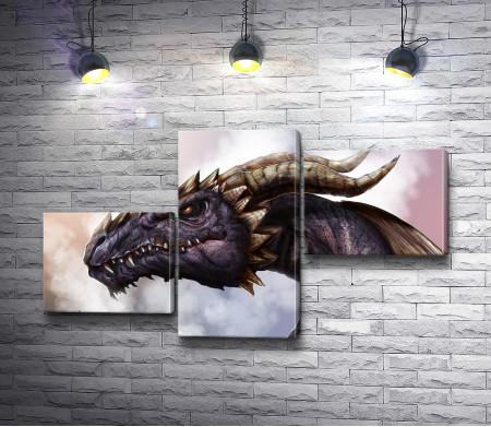 Голова дракона с рогами