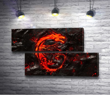 Силуэт дракона из лавы