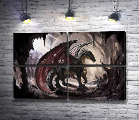 Каменный дракон с крыльями