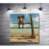 Слон сидит на дереве в пустыне