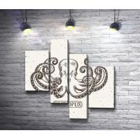 Нарисованный осьминог