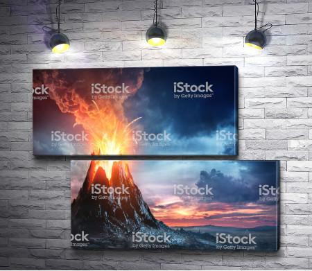 Огненный взрыв над вулканом