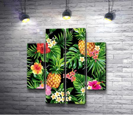Тропические листья и ананас