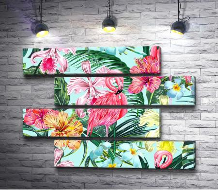 Фламинго и тропические цветы