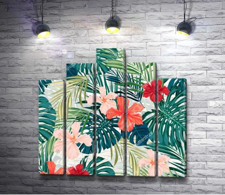 Гавайские цветы и листья монстеры