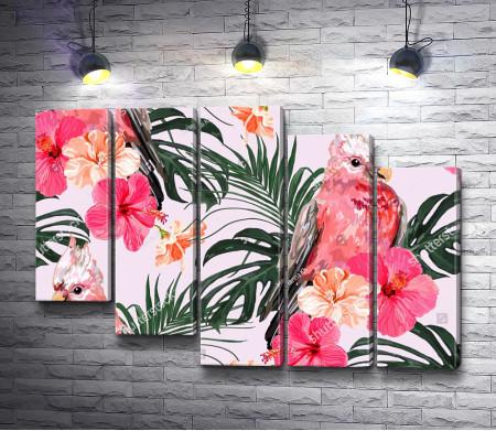Розовый попугай и тропические листья