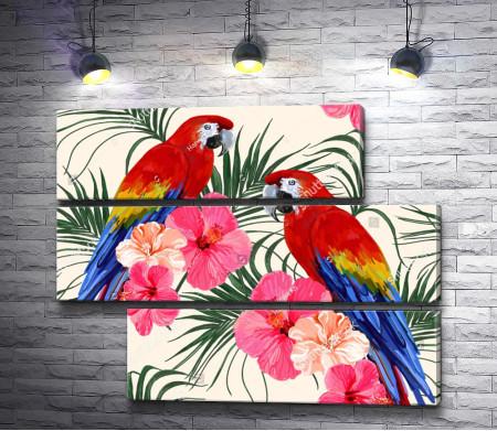Два попугая Ара на пальмовой ветке в цветах
