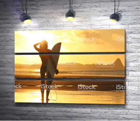Серфинг во время заката