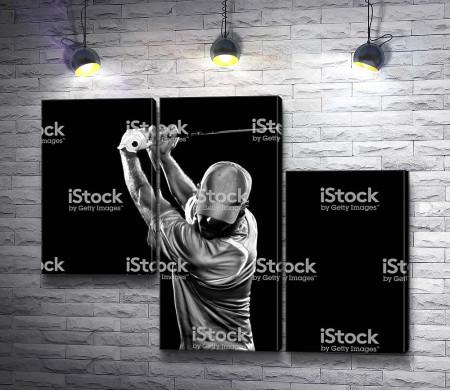 Гольфист в черно-белой гамме