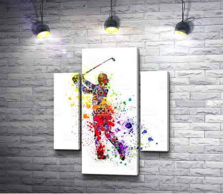 Гольфист из пятен краски