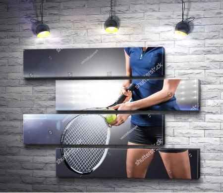 Момент перед подачей в теннисе
