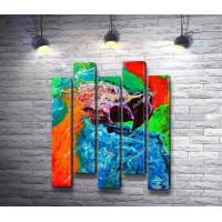 Попугай, нарисованный красками