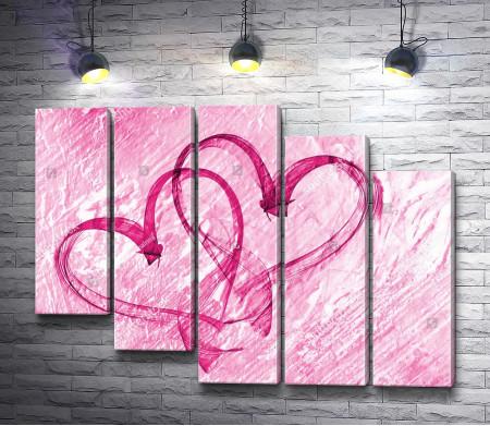 Два переплетенных сердца любви