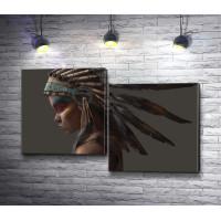 Девушка-индианка с перьями
