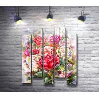 Букет живописных роз