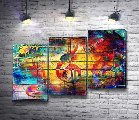 Скрипичный ключ, нарисованный красками