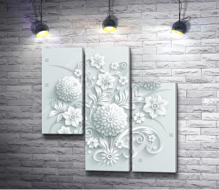 Настенная декорация из бумажных цветов