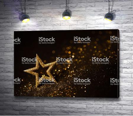 Праздничная звезда в золотых блестках