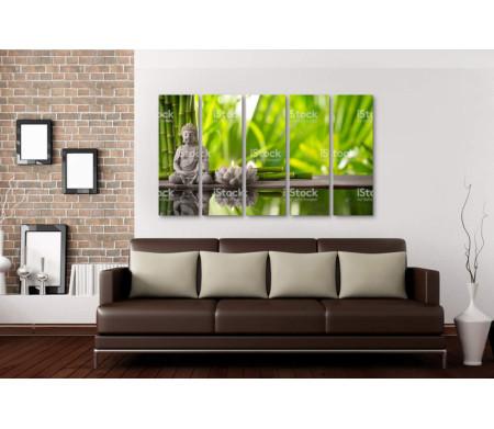 Статуэтка Будды и свеча. Спа-композиция