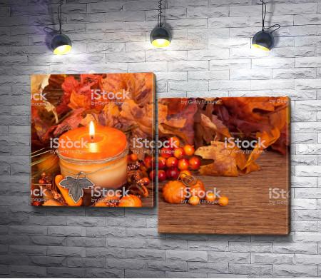 Свеча и осенние листья
