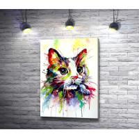 Котик нарисованный красками