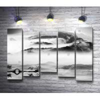 Японские горы в акварели