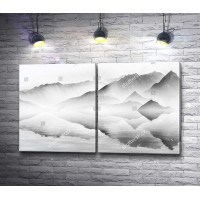 Горы, нарисованные акварелью