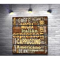 Плакат с видами кофейных напитков