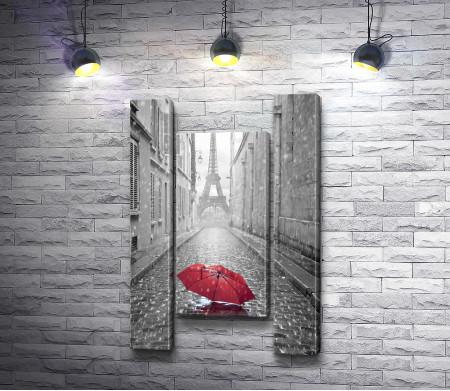 Красный зонт на фоне Эйфелевой башни