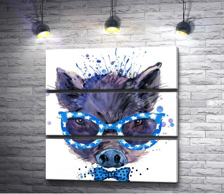 Свинка в синих очках