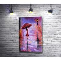 Девушка с зонтом у фонаря