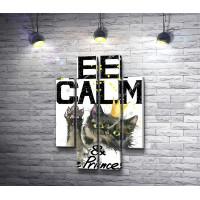 """Постер """"Сохраняй спокойствие и будь принцессой"""" с котом"""