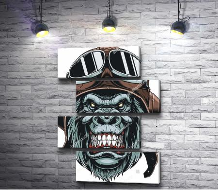 Злая горилла в шлеме с очками