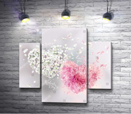 Романтические сердца из цветочных лепестков