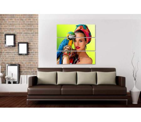 Девушка в африканском стиле с попугаем Ара