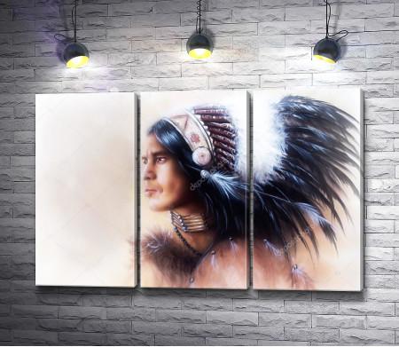 Портрет сурового индейца