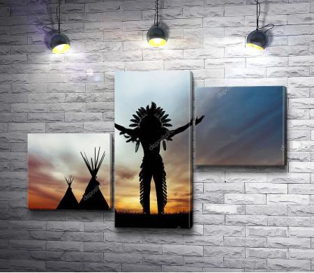Силуэт американского индейца