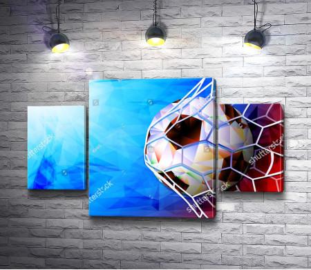 Футбольный мяч в воротах
