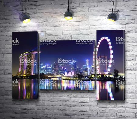 Вид на ночной Сингапур, Азия