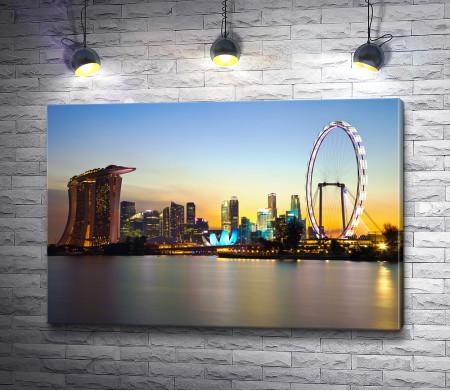 Вечерний залив Марина Бей, Сингапур