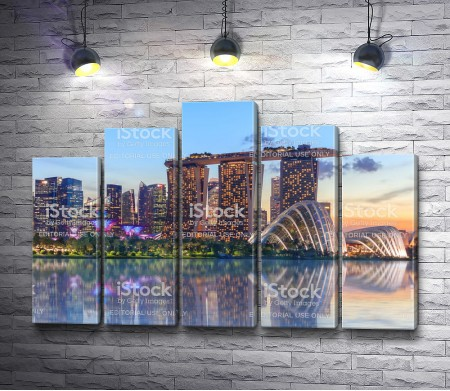 Отель Марина Бэй Сандс в огнях, Сингапур
