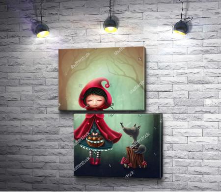Красная шапочка и волк в лесу