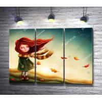 Маленькая девочка на осеннем ветру